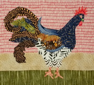 Rooster fused to fabric